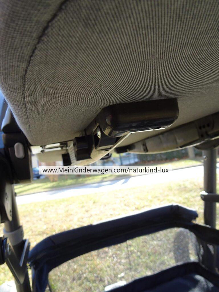 Naturkind Kinderwagen Lux, Unterseite Wanne mit Kufen für Wippfunktion  und Reisebett
