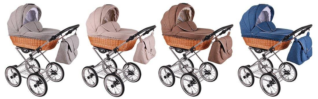 Farben RETRO DELUXE Kinderwagen mit Chrom-Gestell und Luftreifen 14 Zoll