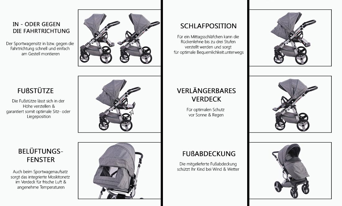 Prestige Comfort Kinderwagen Sitz Funktionen