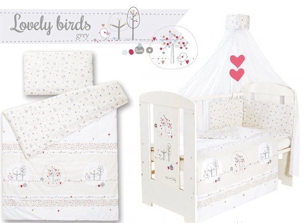 Babybett lovely birds grey