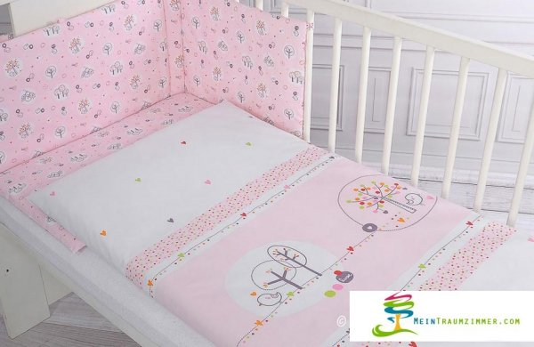 Babybett lovely birds pink