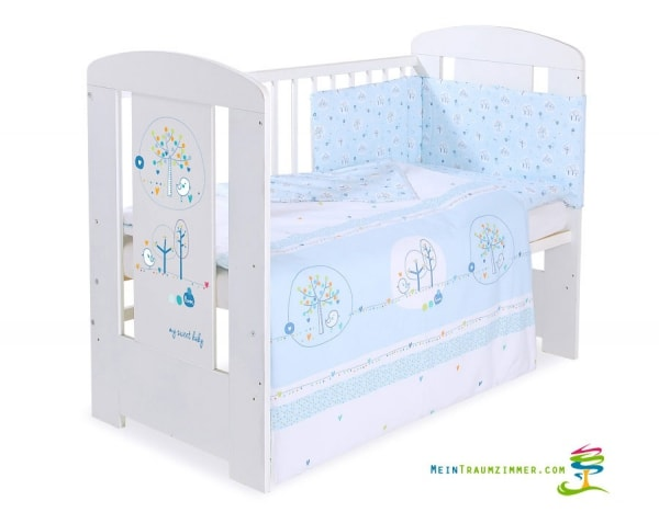 Babybett lovely birds blue