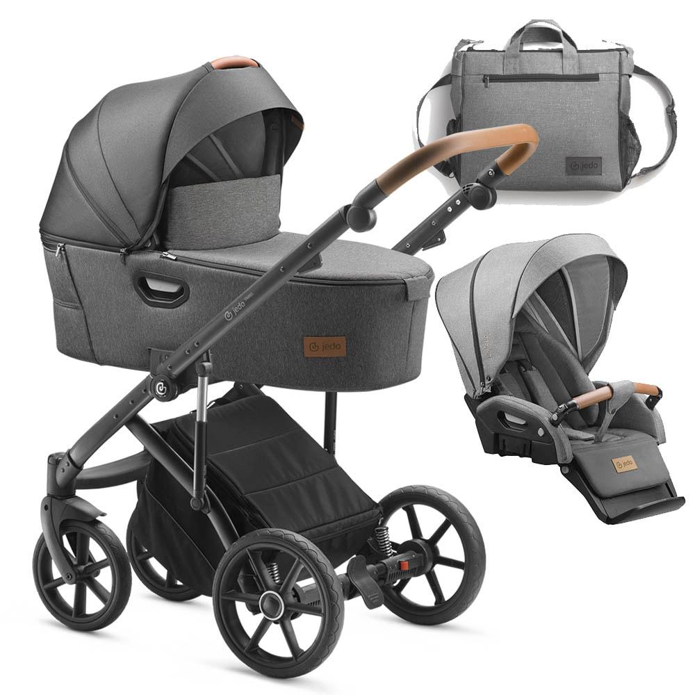 Jedo Tamel Kinderwagen: Lieferumfang Kinderwagen mit Babywanne, Sportsitz und Zubehör