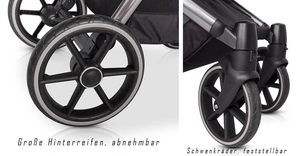 Classico Qubuz Kinderwagen: Gutes Fahrgefühl dank großen pannensicheren Reifen