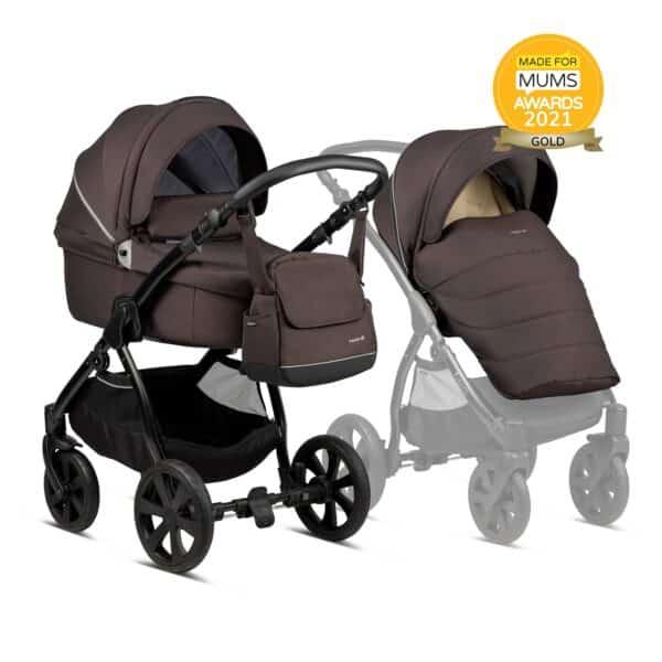 Noordi Fjordi Kinderwagen mit Liegewanne Babywanne mit stoff braun, Set 3 in 1