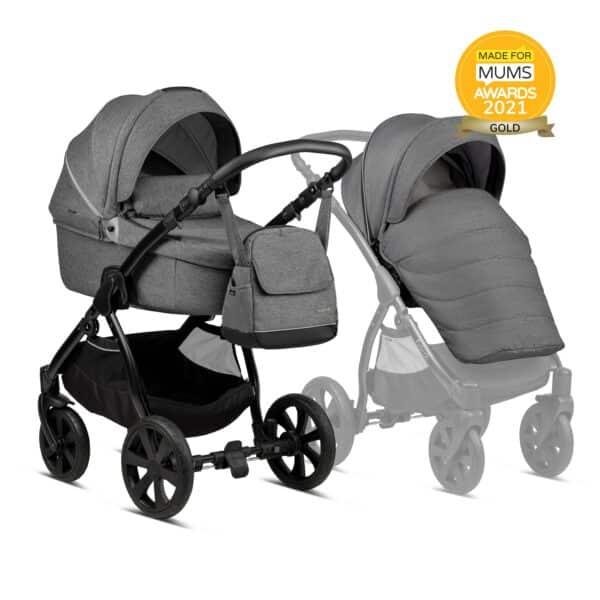 Noordi Fjordi Kinderwagen mit Babywanne, mit stoff grau, dunkelgrau, komplettset 3 in 1 Set mit Autoschale