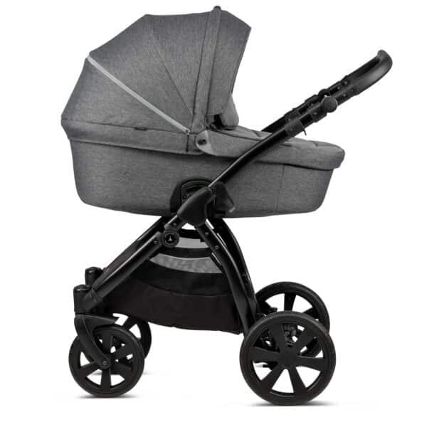 Noordi Fjordi Kinderwagen mit Babywanne, mit stoff grau, dunkelgrau