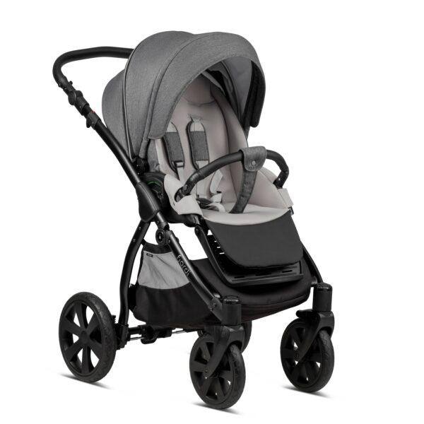 Noordi Fjordi Kinderwagen mit Babywanne, mit buggy Sportwagen, grau, dunkelgrau