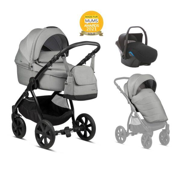 Noordi Fjordi Kinderwagen mit Babywanne, Liegewanne, große liegefläche, ab Geburt, neugeborenes, Komplettset mit Buggy und Autoschale, 3 in 1 SET