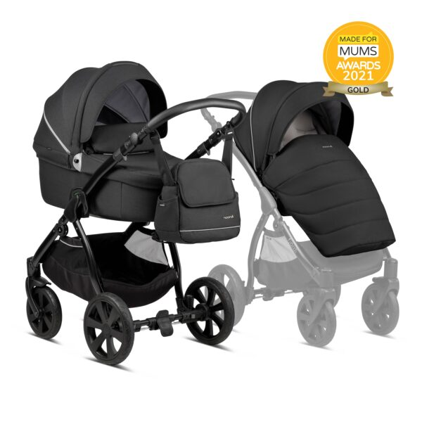Noordi Fjordi Kinderwagen mit Babywanne, Buggy Stoff, black, schwarz, Set Preis, 3in 1 Komplettset
