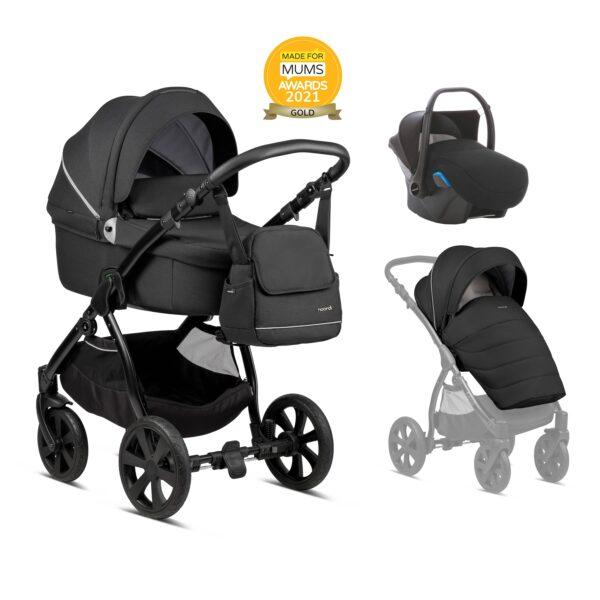 Noordi Fjordi Kinderwagen mit Babywanne, Buggy Stoff, black, schwraz, Set Preis, 3in 1 Komplettset