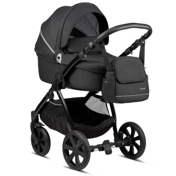 Noordi Fjordi Kinderwagen mit Babywanne, Buggy Stoff, black, schwraz, Set Preis, Komplettset