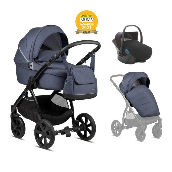 Noordi Fjordi Kinderwagen mit Babywanne, Liegewanne, Stoff, dunkelblau, jeans, Set Preis, Komplettset