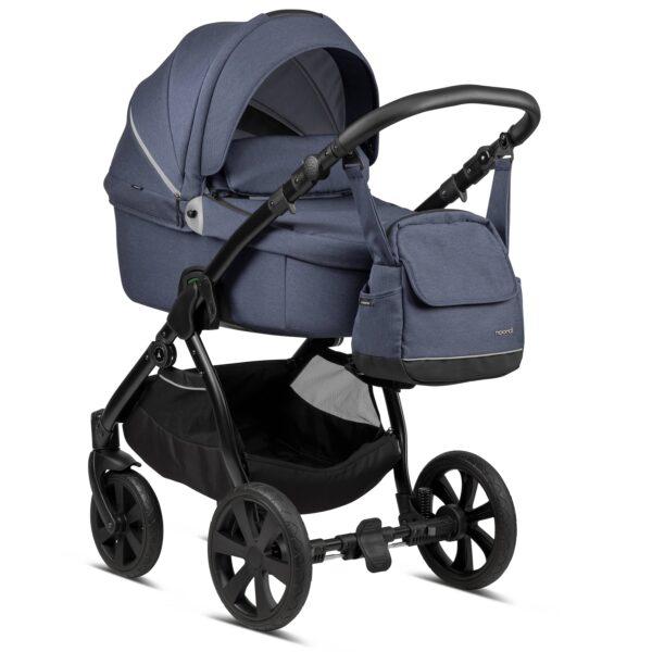 Noordi Fjordi Kinderwagen mit Babywanne, Liegewanne, Stoff, dunkelblau, jeans