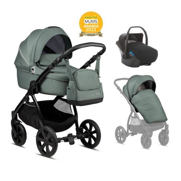 Noordi Fjordi Kinderwagen mit Liegewanne, Babywanne, SET Preis Komplettset mit Autoschale